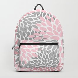 Festive, Floral Prints, Pink, Gray, White Backpack