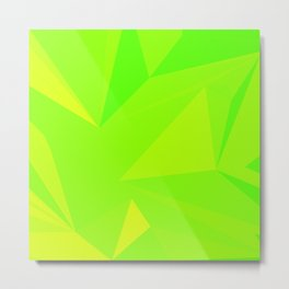 Neon green fluorescent polygon Metal Print