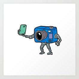 robot camera making selfie Art Print