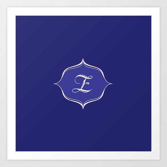 Z Monogram Royal Blue Art Print