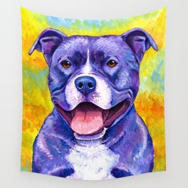 Peppy Purple Pitbull Terrier Colorful Dog Wall Tapestry