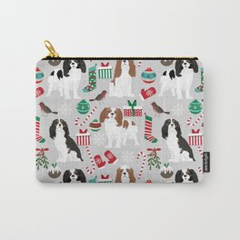 Cavalier King Charles Spaniel christmas pattern gift for dog lover pet friendly pet portrait Carry-All Pouch