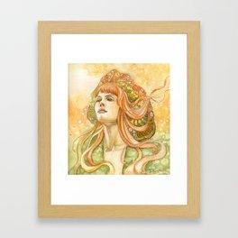 Girl In Orange Wind Framed Art Print