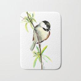 Chickadee on Willow, minimalist bird artwork chickadee painting Bath Mat