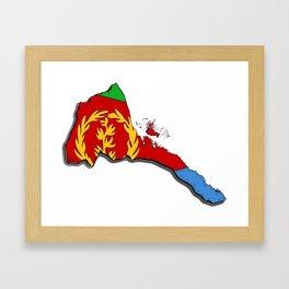 Eritrea Map with Eritrean Flag Framed Art Print