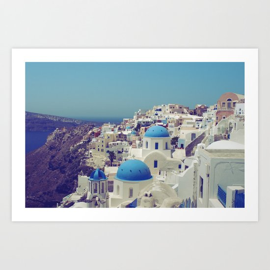 Blue Domes II, Oia, Santorini, Greece Art Print
