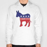 north carolina Hoodies featuring North Carolina Democrat Donkey by Democrat