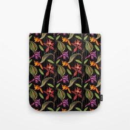 Orchids & Ink (Black Background) Tote Bag