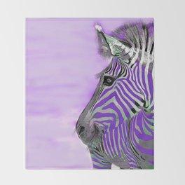 Zebra Purple and White Throw Blanket
