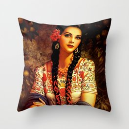 Jesus Helguera Painting of a Mexican Calendar Girl with Braids Throw Pillow