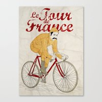 tour de france Canvas Prints featuring tour de france by cikuta