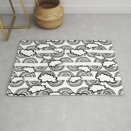 Rainbow Waves-  Black and White - Colour Your Way Rug