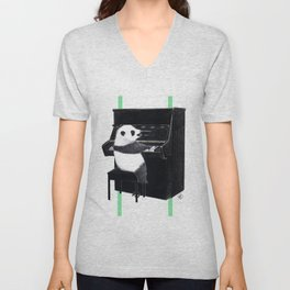 Piano Panda Unisex V-Neck