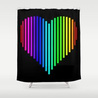 techno Shower Curtains featuring Techno Love by JG Designs