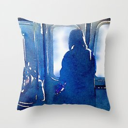 Contemplating the Commute Throw Pillow