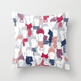 Happy llamas Christmas Choir III Throw Pillow