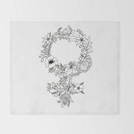 Feminist Flower  2.0 Throw Blanket
