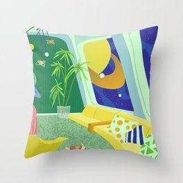 Retrofuturism in Space Throw Pillow