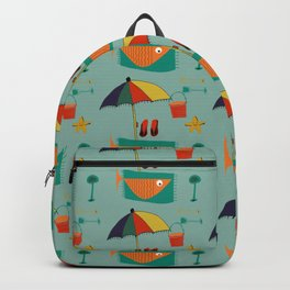 Fish at the beach blue Backpack