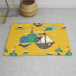 Pirates Ahoy Yellow Rug