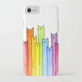 Nursery-Art-Print-Cat-Rainbow-Whimsical-Animals iPhone Case