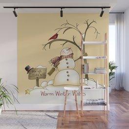Warm Winter Wishes Snowman Sleigh Rides Red Bird Wall Mural