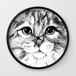 Fluffy Cat in Grey Scale Wall Clock