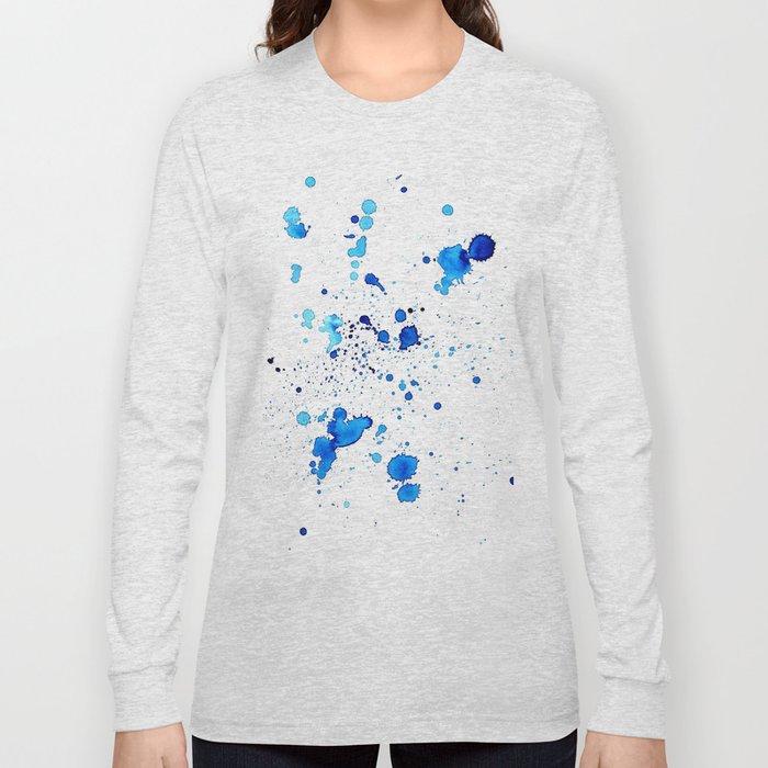 Blue Splatter Long Sleeve T-shirt