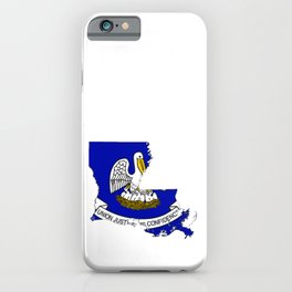 Louisiana Map with Louisiana Flag iPhone Case