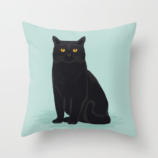 Cute Neutral Throw Pillows : Black Cat cute cat breed customized pet portrait mint background cat lady gifts gender neutral ...