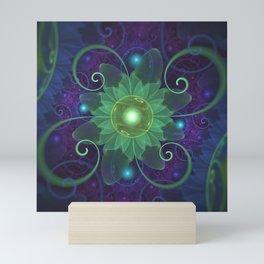 Glowing Blue-Green Fractal Lotus Lily Pad Pond Mini Art Print