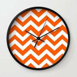 Maximum orange - orange color - Zigzag Chevron Pattern Wall Clock
