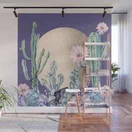 Desert Sun Cactus + Succulents Gold Deep Purple Wall Mural
