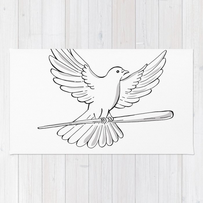 Pigeon or Dove Flying With Cane Drawing Rug