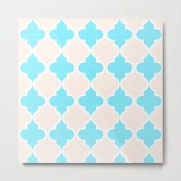 Quatrefoil - cream and arctic Metal Print