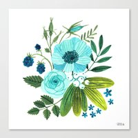 oana befort Canvas Prints featuring FLORA BLUES by Oana Befort