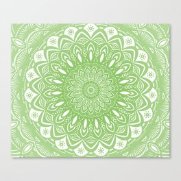 Light Lime Green Mandala Simple Minimal Minimalistic Canvas Print