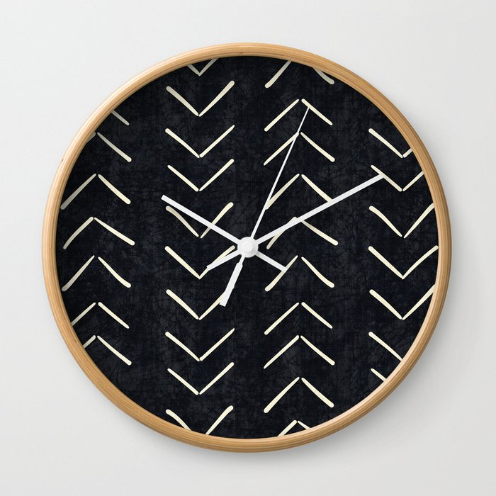 Mudcloth Arrows In Black And White Wall Clock
