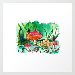 Toadstool Mushroom Fairy Land Art Print