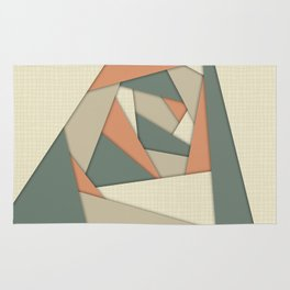 Earth Tone Shapes Construct Rug