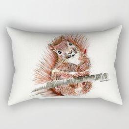 Squirmy Squirrel - animal watercolor painting Rectangular Pillow