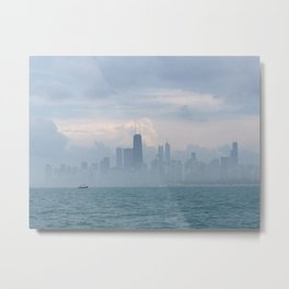 Foggy Skyline Blue & Grey Metal Print