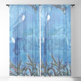 Whale and Seahorse Sheer Curtain