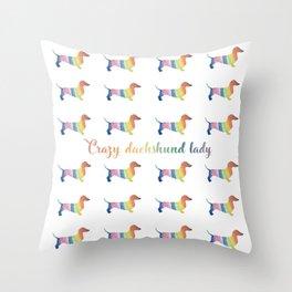 Crazy Dachshund Lady Throw Pillow