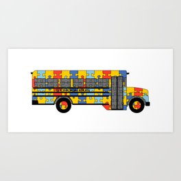 Autism Awareness School Bus Art Print