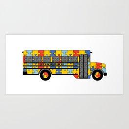 Autism Awareness School Bus Art Print