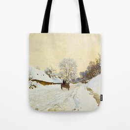 Claude Monet Impressionist Landscape Oil Painting A Cart on the Snowy Road at Honfleur Tote Bag