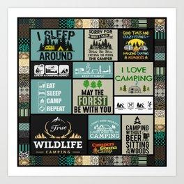 True wildlife camping- I love camping- I sleep around mountain Art Print