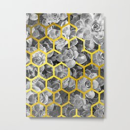 Black and White Succulent Geometric Metal Print