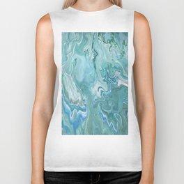 North Shore Swirls - Marble Fluid Abstract Blue Turquoise Art Biker Tank